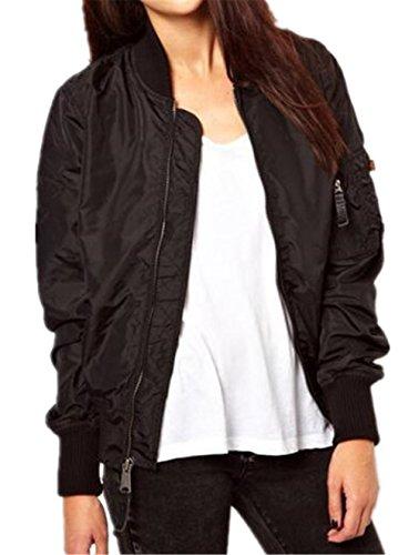Donna Cappotto Outwear Giacca Jacket Casual Giacche Black Classico Breve Vintage Zip E Ufficio Elegante Top Colore Tayaho Semplice Puro 1x5n1