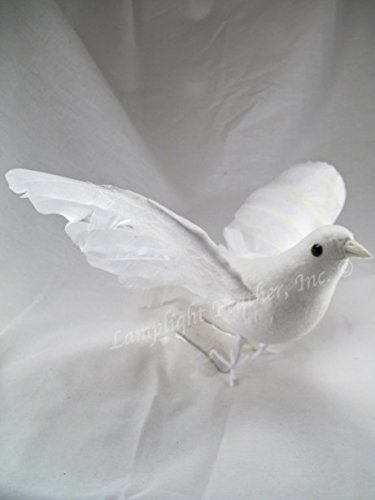 Lamplight Feather White Dove Decorative Artificial Bird Flying 9 inch per Each