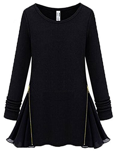 Empalme para mujer JOLLYCHIC candado de disco tamaño de la funda para vestidos de manga larga para cuello redondo con cremallera negro