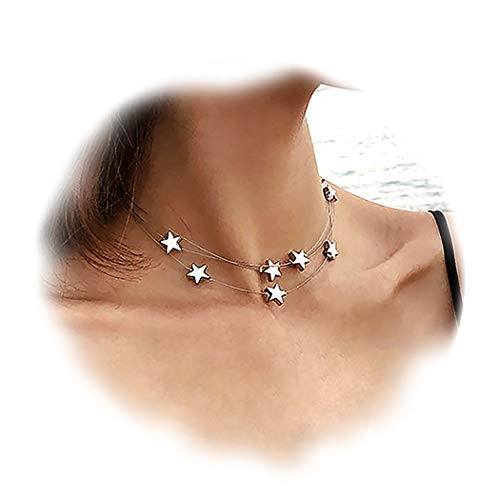 Suyi Dainty Multilayer Stars Choker Necklace Layering Bohemian Chain Clavicle Necklace for Women