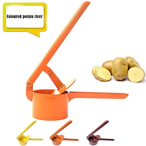 Win Dynasty Potato Masher,Potato Ricer,Stainsteel Steel Potato Press,Baby Food Strainer,Vegetable and Fruit Press(4 Colors)(Orange) by Win Dynasty