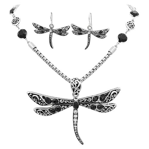 - Gypsy Jewels Large Animal Nature Theme Silver Tone Statement Necklace & Earring Set (Black Dot Dragonfly)