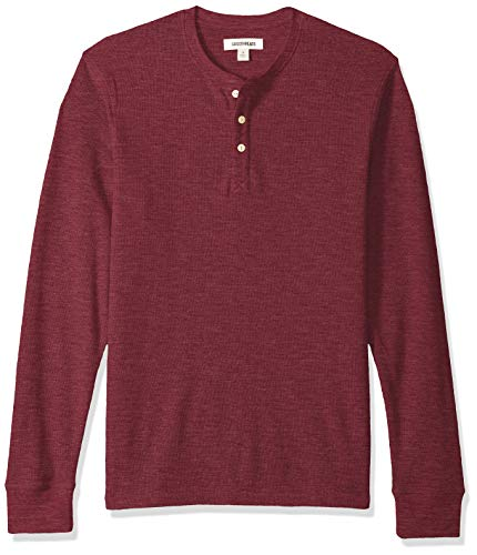 Goodthreads Men's Long-Sleeve Slub Thermal Henley, Burgundy, - Henley Waffle