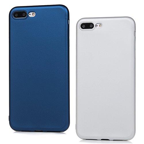 Lanveni Custodia Cover Morbido TPU Silicone Ultra Sottile per iPhone 7 Plus 5.5 Paraurti Protective Case Caso - Blu + Argento (2 pezzi)