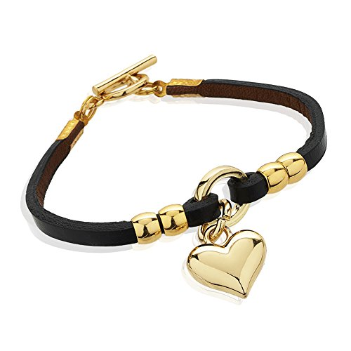 Yellow Gold-Plated Heart Charm and Black Leather Single Wrap Bracelet with Toggle (Single Heart Bracelet)