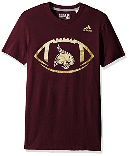 - adidas NCAA Texas State Bobcats Adult Men Sideline Pigskin Go-To Performance Tee, X-Large, Maroon