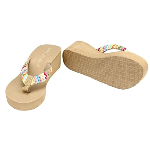Sandalias Chanclas Ocasiones Mujer Bohemia Plataforma Cuñas Peep Mujer Ba Casuales de Zapatos de Toe Sexy Chanclas Mujer Zha Hei Amarillo Verano Zapatos Sandalias de Cómodo qE4nWWCt