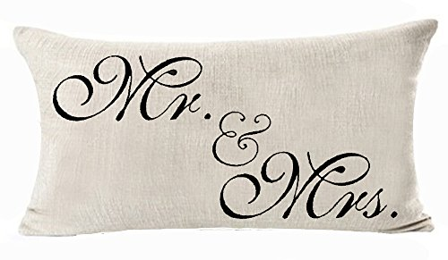 Cotton Linen Decorative Throw Pillow Case Cushion Cover Sweetheart Mr and Mrs Black Rectangle 12 X 20 Inches -