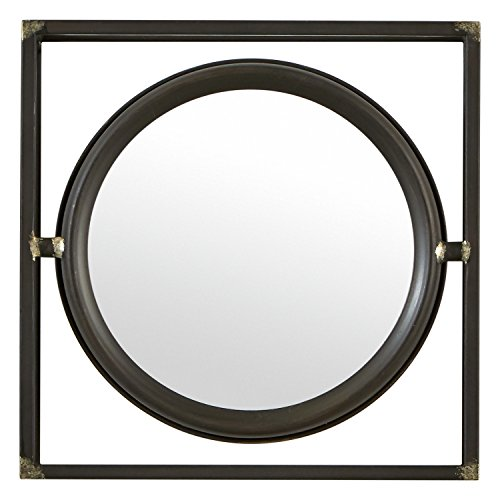 Stone & Beam Industrial Hexagonal Floating Metal Wall Mirror, 12 Inch Height, Black