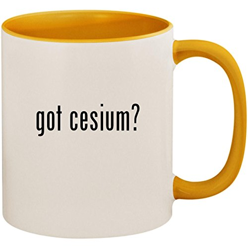 got cesium? - 11oz Ceramic Colored Inside and Handle Coffee Mug Cup, Golden Yellow