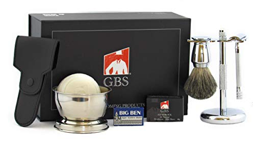 GBS Shaving Gift Set with Merkur Double Edge Safety Razor (23001), Alum Block, Chrome Bowl with Shaving Soap, GBS Badger Bristle Brush+ Blades Best Wet Shave Kit For your Grooming Needs