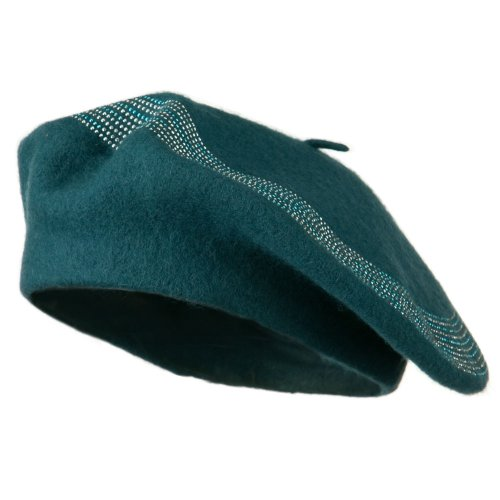 Stone Lined Wool Beret - Teal OSFM