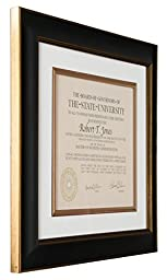 Artcare Tuscan Collection Black and Gold Archival Quality 12 by 15-Inch Wood Document Frame Matted to 8-1/2 by 11-Inch