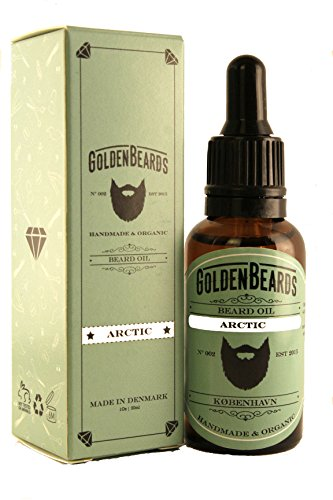 Organic Beard Oil and Beard Growth – ARCTIC - 30ml *Golden Beards* | 100% Organic | Moisturise your beard and skin, 100% Vegan & Organic Oils - Stop itching beard - Mint Smell - MADE IN DENMARK-