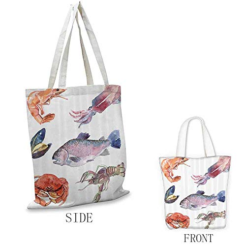 Ladies casual canvas bag Sea Animals Decor Sea Food Illustration With Shrimp Mussel Fish Crab In Watercolor Painting Effect Cosmetic bag Mustard Navy