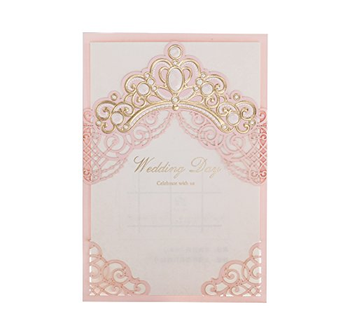 「Princess Dream」WISHMADE 50 Pink Laser Cut Elegant Wedding Invites with Crown Design, Printable Invitations Sleeve with envelopes for Quinceanera Birthday Party Engagement Bridal Baby Shower -