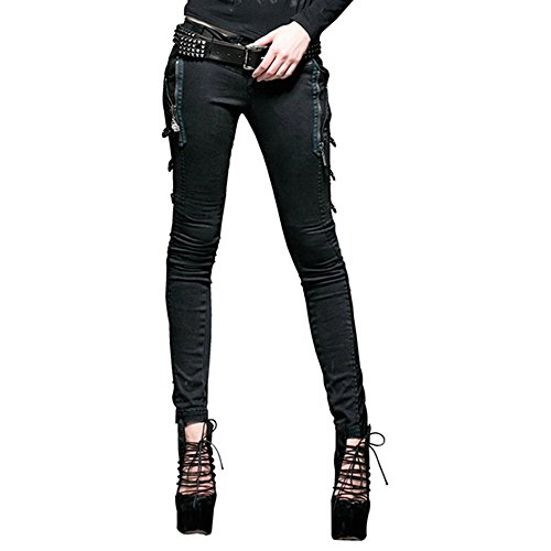 Punk Rave Punk Black Slimmed Elastic Trousers Bootcuts for Women Female Army Style Pants (2XL)