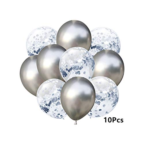 Fly-Town 10Pcs Mixed Gold Confetti Balloons Birthday Party Decoration Metal Chrome Balloon Air Ball Birthday Balloon Party Decor Balloon,2- Metal C Silver