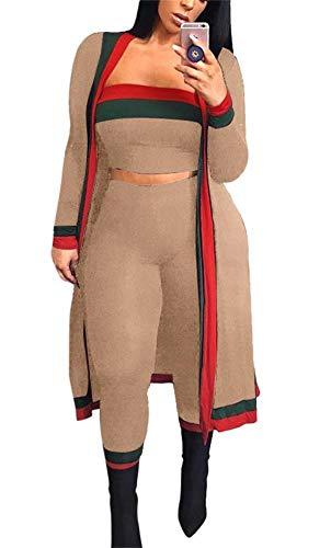 Womens Plus 3 Piece - LKOUS Fall 3 Piece Outfits for Women Long Sleeve Kimono Cardigan Cover Up Bandeau Tube Crop Top High Waist Long Pants Set Plus Size