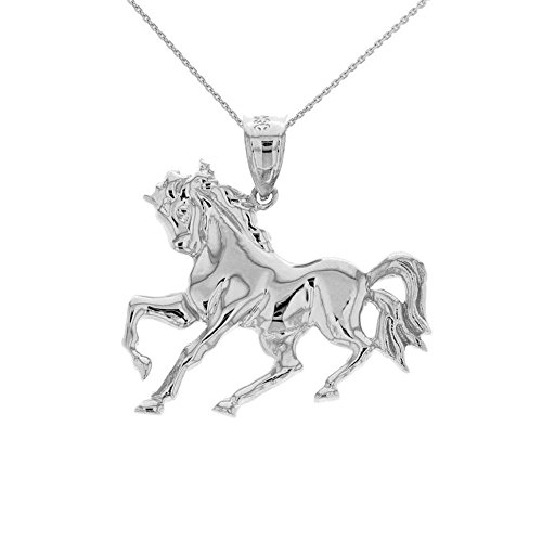 - 925 Sterling Silver Stallion Horse Race Running Animal Pendant Necklace (hollow back), 16