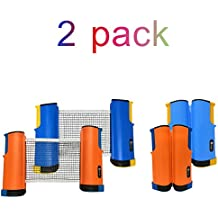 2 Retractable Ping Pong Net Set - Table Tennis Net and Post Replacement, Indoor Outdoor, Portable Anywhere on Almost Any Table, 6 Feet Adjustable, Plastic Clamps, Travel Case Bag, by JP WinLook