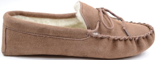 Snugrugs Womens Dark Brown Wool Lined Moccasin Slippers with Suede Sole. Light Brown XPyDV2jkF