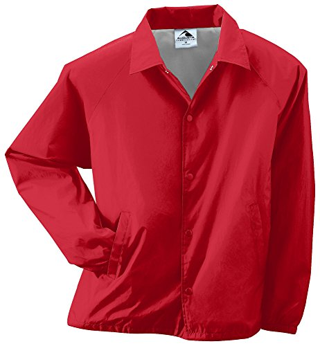 Lined Red Jacket - Augusta Sportswear Unisex-Adult Nylon Coach's Jacket/Lined, Red, Large