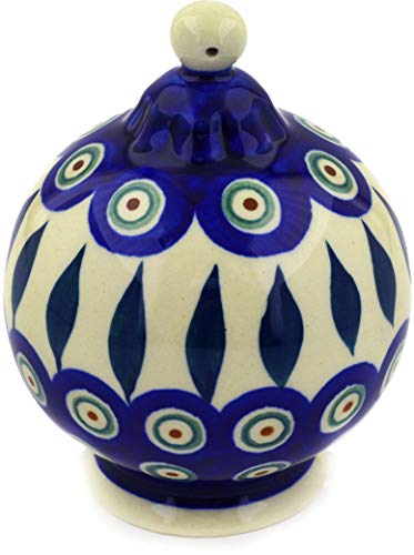 (Polish Pottery 4¼-inch Ornament Christmas Ball (Peacock Leaves Theme) + Certificate of Authenticity)