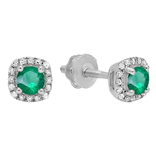 10K White Gold 3.5 MM Each Round Emerald & White Diamond Ladies Halo Style Stud Earrings by DazzlingRock Collection