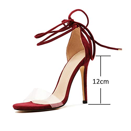 Women Sandals Sexy Women Shoes Sexy Party Thin High Heel Cross-Tied,Red Wine 12CM,5
