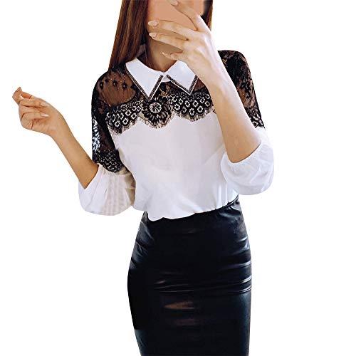 mujer Casual Elegantes Para Block Blanco Larga Moda Mujer Color neck Patchwork Camiseta Fiesta Blusas Ajustado Tops De camisas O Polyester Manga Blusa Vestir Felz cnaf06OR0