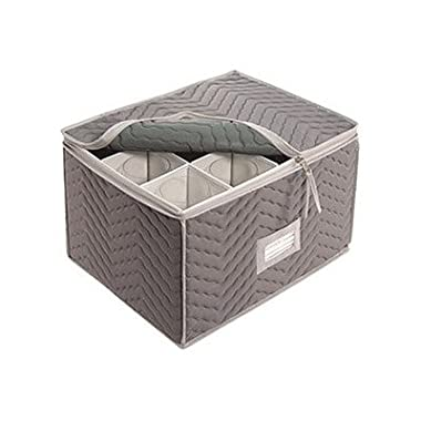 Stemware Storage Chest -Deluxe Quilted Microfiber (Light Gray) ( 15.5  x 12.5 x 10 )