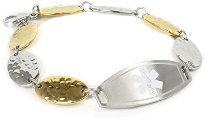 My Identity Doctor – Customized Medical ID Bracelet with Engraving, 1.5cm Gold Tone Steel Petals – Made in USA