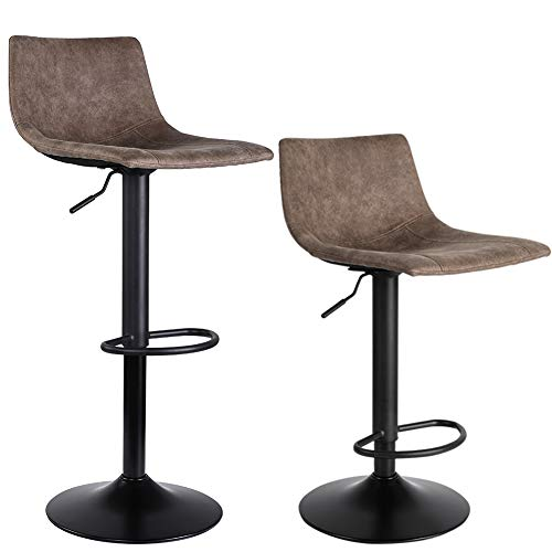 (SUPERJARE Set of 2 Bar Stools, Swivel Barstool Chairs with Back, Modern Pub Kitchen Counter Height, Light Brown)