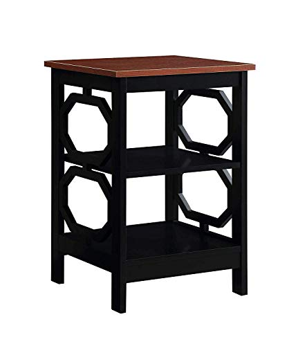 Convenience Concepts 203210CH Omega End Table, Cherry Top/Black Frame (Birch Cherry Accent Table)