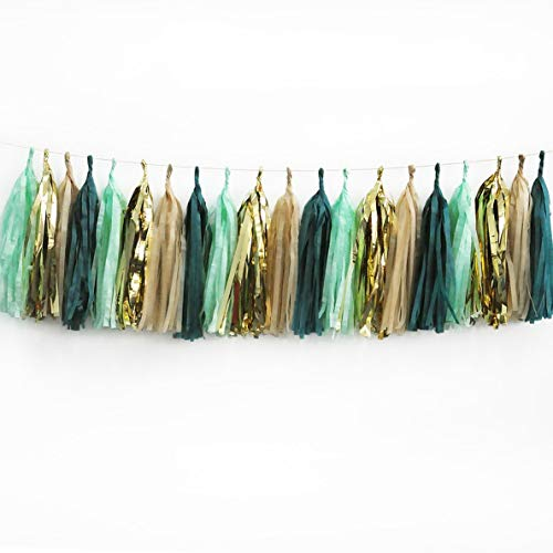 - Gatton 20Pcs ding Party Tassel Sage Green Champagne Gold and Teal Tassel Garland for Rustic Style Bridal Shower Shower Spring Decor Birthday Eucalyptus (Green) | Model WDDNG - 572 |
