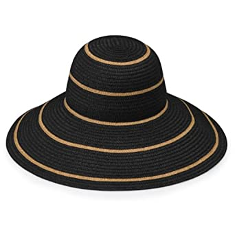 d7e34e66c21b7 Wallaroo Hat Company Women s Savannah Sun Hat - Black Camel Stripes - UPF  50+ at Amazon Women s Clothing store  Sun Hats