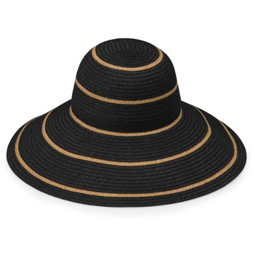 e9cbf120d53 Wallaroo Hat Company Women s Savannah Sun Hat – Black Camel Stripes – UPF  50+