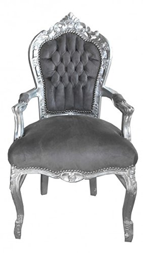 Casa Padrino Barock Esszimmer Stuhl Mit Armlehnen Grausilber
