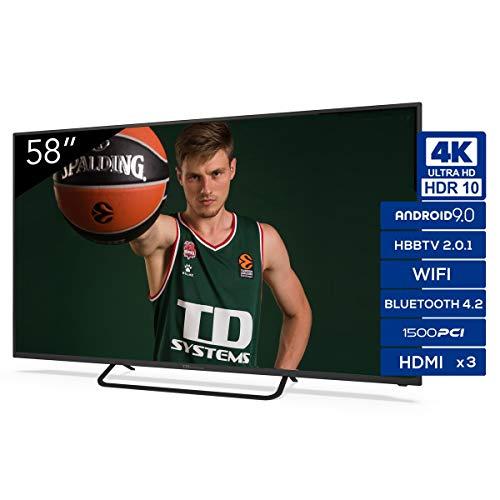 Televisiones Smart TV 58 Pulgadas 4k UHD Android 9.0 y HBBTV, 1500 PCI Hz, 3X HDMI, 2X USB. DVB-T2/C/S2, Modo Hotel…