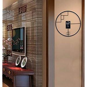 Wall clock Reloj de Pared de Hierro Forjado de Estilo Chino Reloj de Pared de 18 Pulgadas (45 * 45 cm) Dormitorio Reloj de Pared Movimiento metálico Movimiento de Barrido 1 batería AA (sin impuestos) 4