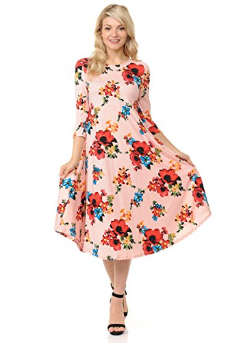 Dress Trapeze Floral - iconic luxe Women's A-Line Swing Trapeze Midi Dress Small Floral Blush Red