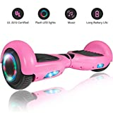 ROCKETX Hoverboard with Bluetooth Speaker LED Wheel (Pink)
