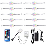 AIBOO 24V Under Counter Led Light Kit, RGB Under Cabinet Lighting,10 Packs Colored cabinet lights with Wireless 40-Key IR Dimmable Remote Control (RGBWW, 10 Lights)