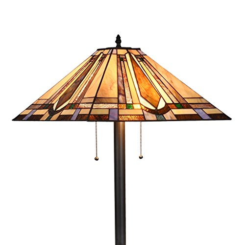 Southwestern Stained Glass Table Lamp - Tiffany Style 2-Light Mission Floor Lamp Tall 65