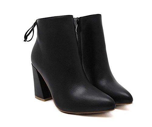 Ankle Bootie 9.5cm Chunkly Heel Mujeres Hermoso Puntiagudo Zipper Bowknot Martin Boots Corte Zapatos zapatos de vestir Eu Tamaño 34-43 Black