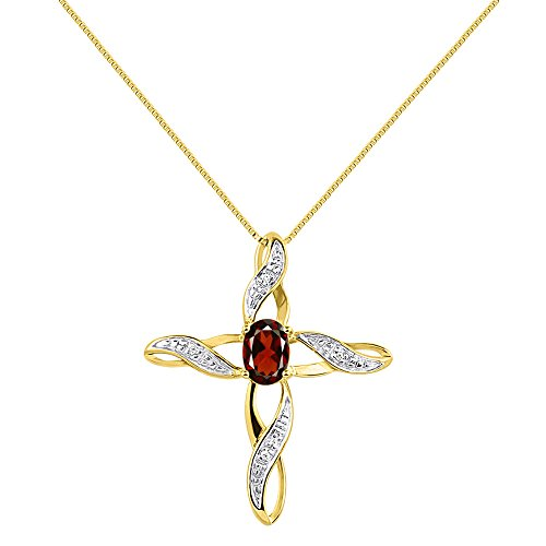 Diamond & Garnet Cross Pendant Necklace Set In Yellow Gold Plated Silver .925 with 18″ Chain