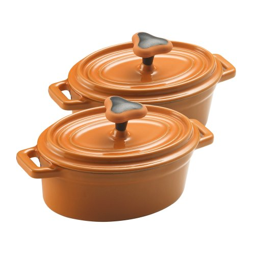 Rachael Ray 12-Ounce Cast-Iron Covered Oval Casseroles, Set
