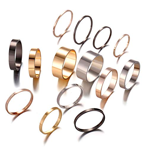 FINETOO 14 PCS Midi Ring Set Simple Stainless Steel Knuckle for Women/Girl Finger Stackable Rings Set Jewelry Friendship ()