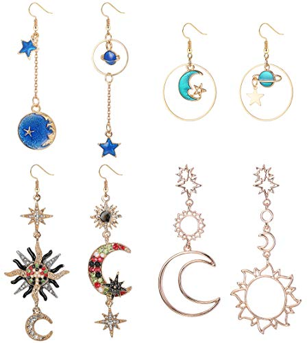 (LOYALLOOK 4 Pairs Bohemia Moon and Star Earth Hollow Asymmetric Earrings for Women Girls Crystal Long Drop Dangle Earring Jewelry)